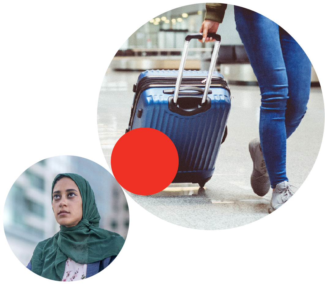Two circular images--the larger one shows a person walking with a suitcase; the smaller one shows a woman wearing a head scarf