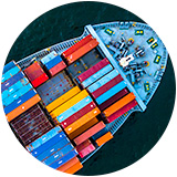 Looking down on the bow of a container ship